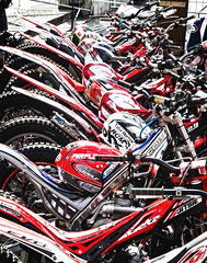All in a row (tootdood) Tags: red manchester bikes piccadilly row helmets niftyfifty canon600d