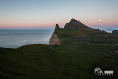 Hornjbarg Cliffs (New Planet Studios) Tags: sunset red iceland cliffs fullmoon hornstrandir hornbjarg birdcliffs