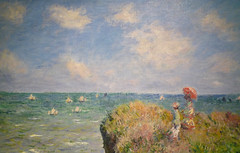 Monet, Cliff Walk at Pourville, with detail of sea