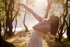 Leave My Body (Jan Sincerely) Tags: wood light summer sun sunlight lake green leave last forest pose hair 50mm nikon ballerina dress body days yasmin d90