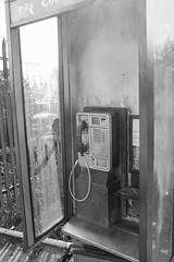 Phone Box. (frankie091) Tags: blackandwhite white abstract black vertical contrast canon vintage photography rebel weird cool phone view awesome perspective 1855mm bt phonebox t3i 600d canon600d verticalphotography rebelt3i