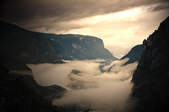 Towards Flaam (abdurj) Tags: sun mountain nature water norway scenery skies cloudy valley layer bergen bane flm flaam