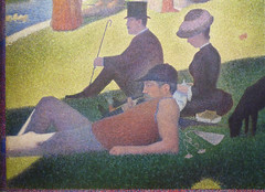 Seurat, A Sunday on La Grande Jatte—1884, detail with smoker in foreground