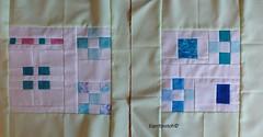 Sea glass blocks (espritpatch) Tags: modern bee quilting patchwork seaglass quiltblock 9patch piecing konasolids seweuorbeean