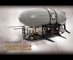 """StormRacer"" (ted @ndes) Tags: lego zeppelin system blimp airship dirigible steampunk bdr blackdarkred"
