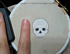 Skull miniature embroidery WIP (MotherEagle) Tags: white skeleton skull miniature embroidery bone anatomical handembroidery embroideredbyhand mothereagle madebymothereagle