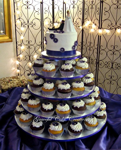 Cupcake Wedding Cake With Purple Flowers A Photo On Flickriver