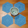 Set of four pale blue Sashiko coasters (sharlenejm) Tags: flower dragonfly etsy coaster sashiko madeit bowlmat sharlzndollz