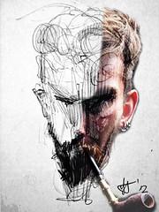 Szybki szkic Pani w Kropki (Jan Szymon) Tags: art beard sketch photo pipe earring bamboo smoking smoker pipesmoker