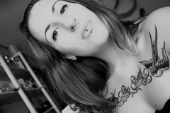 Oh My Swallow! (Roxy Varlow ) Tags: blackandwhite blancoynegro girl tattoo chica bn piercings redhair pelirroja septum tatuajes tattooed redhaired roxyvarlow