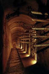 Escalier reliant les carrières au réseau telecom (flallier) Tags: paris film analog underground stairway cables catacombs subterranean bougies nikonf3 escalier souterrain telecom ptt catacombes fuji200iso galerietechnique