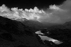 Mountain emotions (George Pancescu) Tags: nikon d810 1635mm landscape mountain retezat massif nationalpark lake reflection clouds sky monochrome blackandwhite nature natural outdoor light peleaga romania europe outstandingromanianphotographers