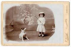 Little Zdena with the dog named Broek (josefnovak33) Tags: girl dog broek cabinet card zdena vclav novk dobruka