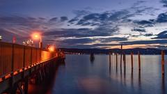 When Evening falls (Lojones13) Tags: newyork sleepyhollow hudsonriver alluring pier water outdoor sky sunset dusk cloud riverside nikond7000 bluehour