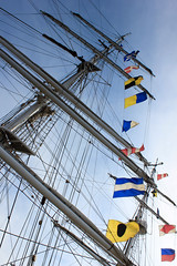 Flags On Mast (danielherrick1) Tags: blyth ship ocean flag docks sky metal boat sea tall