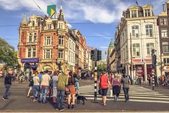 Muntplein Crosswalk, Amsterdam (tommyferraz) Tags: amsterdam muntplein munttoren crosswalk noord holland netherlands people city center