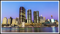 Barangaroo (Tony Hugo) Tags: barangaroo westfield water longexposure cityskyline sydney sydneycity lighttrails light lights centrepoint macquarie frame boat harbour nsw au australia sunset canoneos canoneos6d canon6d canon ef2470mmf4lisusm green purple