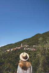 Degna, Italy (CarolienCadoni..) Tags: sonyslta99 sal2470z hat backshot village mountains bluesky blue sky bokeh dof