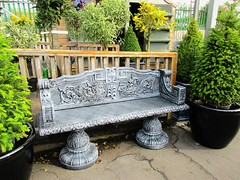 Garden centre bench (JulieK (finally moved to Wexford)) Tags: bench hbm canonixus170 fence wellingtonbridge wexford gardencentre