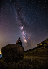 You are not alone... (Vagelis Pikoulas) Tags: milky milkyway way stars star space galaxy universe night nightscape view landscape selfshot selfie canon 6d tokina 1116mm rock man street sky summer colour colours