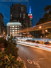 Flatiron Trails (DSC08586-Edit-2) (Michael.Lee.Pics.NYC) Tags: newyork flatirondistrict broadway esb empirestatebuilding night twilight bluehour traffictrails lighttrails longexposure fifthavenue sony a7rm2 fe2470mmgm