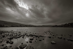 DSC_0074 - Moody and mysterious Semerwater (SWJuk) Tags: uk unitedkingdom gb britain england yorkshire yorkshiredales dales wensleydale semerwater lake water clouds dark sky greysky skies hills hillside moorland landscape waterscape calm mysterious moody bw mono 2016 sep2016 autumn holidays nikon d7100 nikond7100 1024mm rawnef lightroom