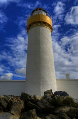 CAIRNRYAN LIGHTHOUSE, LOCH RYAN, CAIRN POINT, CAIRNRYAN, WIGTOWNSHIRE, SCOTLAND. (ZACERIN) Tags: cairnryan lighthouse loch ryan cairn point cairnryan scotland dumfries and galloway wigtownshire alan stevenson zacerin christopher paul photography nikon d800 hdr selective colour colour pictures hdr pictures in blue blue 1964 1847 lighthouses of the uk lighthouses lighthouse pictures ofcairnryan history cairnryan landscapes seascapes irish sea scottish lighouses scotland sea lighthouses