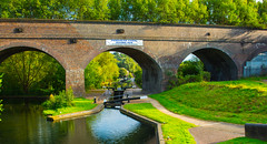 The Wider View....And The Sun Came Out (williamrandle) Tags: wideview parkheadlocksandviaduct dudley westmidlands uk england summer dudleycanal waterways towpath reflections water arch brick structure green trees plants outdoor landscape nikon d7100 tamron2470f28vc architecture