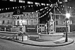 Saint Laurent by night (JordanPerrin) Tags: light urban bw france night canon dark chartreuse nb fisheye zenitar fontaine nuit