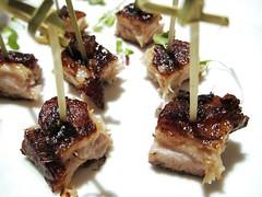 Pork belly skewers