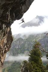 "James Field-Mitchell flying off ""Cyrus the Great"", 30 - Little Babylon (JoshyWindsor) Tags: new rock climbing zealand extremesports fiordland canon60d darrans"