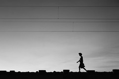 Morning Walk !!! (bmahesh) Tags: morning people blackandwhite india lines canon walking track walk worker canon5d minimalism chennai mahesh railwaytrack tamilnadu morningwalk canonef24105mmf4isusm chengalpet canoneos5dmarkii bmahesh