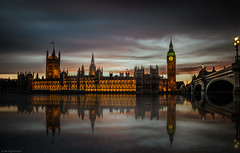 Mirrored in Thames (Santiago Almada) Tags: uk england reflection london thames night river nikon europe cloudy unitedkingdom bigben mirrored traveling houseofparliament d90 santiagoalmada iwouldlovetotravelallaroundtheworld