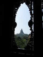 The Big Buddha seen from the monastery (oldandsolo) Tags: china hk hongkong buddhism bigbuddha lantauisland polinmonastery chinesetemple chineseculture ngongping tiantanbuddha ngongpingbuddha buddhistfaith chinesereligiousshrine largestseatedbronzebuddha