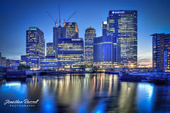 Canary Wharf Skyline (Jonathan.Russell) Tags: street sun london water architecture speed skyscraper canon buildings boats foto state dusk business flats shutter canarywharf hdr banking barclays togs citi photomatix 40d jonathanrussell jonooter