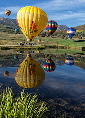 Snowmass Balloon Festival (glness) Tags: morning autumn reflection fall colors festival balloons dawn colorado village hotairballoon snowmass snowmassvillage snowmassballoonfestival gregness