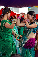 Girls dancing to the tunes of modern songs (yadavop) Tags: nepal people festival festive dance nikon women dancing religion hindu patan opsphotos teej centralregion nikon70200mm28 d7000