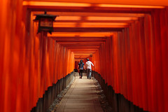 Kyoto Love Story (J.R.Photography) Tags: red mountain love japan canon 50mm kyoto couple shrine open inari gates wide tunnel fox lantern f18 torii fushimi  senbon 5d3
