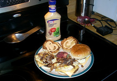 McJimmy Sandwich - 14 (yakkhapadma) Tags: food cooking cheese pepper photos pics onions butter oil eggs sandwiches thousandislanddressing hamburgerbuns porksausagepattys mcjimmysandwich