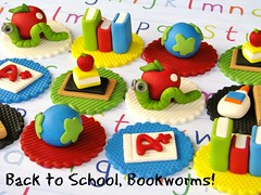 Bookworm Back to School Cupcake Toppers (Lynlee's) Tags: school back globe glue books cupcake toppers bookworm fondant