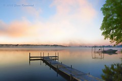 Morning fog over lake (ElenaK@Chicago) Tags: mist sunrise nikon wi lakewisconsin pardeeville morningfogoverlake