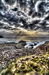 Giants' Causeway 2 (bornin78) Tags: travel ireland light sunset sea irish sun beach nature clouds giant landscape nikon rocks waves ray giants 18200 hdr causeway photomatix d7000