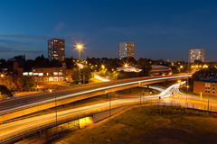 Ring Road - Coventry (Davoud D.) Tags: uk longexposure urban night concrete evening dusk roundabout overpass junction cov lighttrails bluehour roads coventry westmidlands partlycloudy thebluehour ringroad cv1 radfordroad upperwellstreet naulsmillhouse