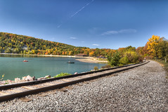 devil's lake (almostsummersky) Tags: statepark park railroad autumn trees lake fall beach water wisconsin rocks kayak traintracks canoe shore devilslake baraboo railroadtracks