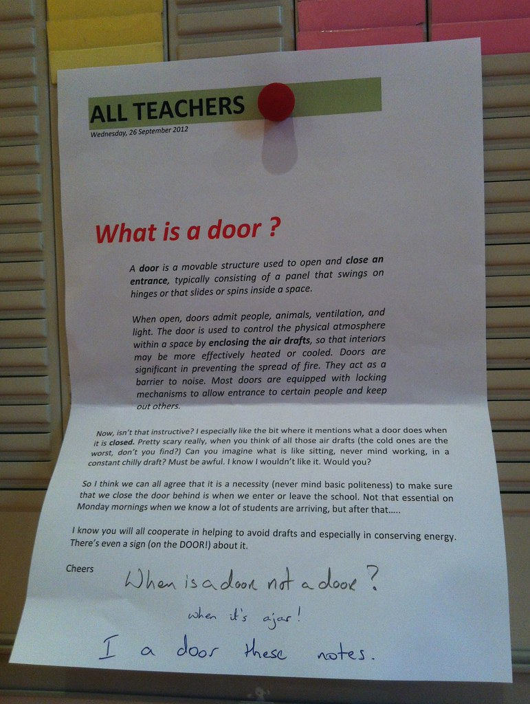 When is a door not a door? When it's ajar!   I a door these notes.
