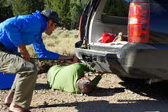 How many fishing guides does it take to change a tire (Davidson River Outfitters) Tags: trip flat tire hosted landon lipke kevinhowell davidsonriveroutfitters