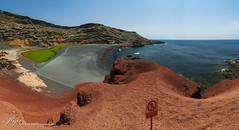 panorama from Charco Verde (Jordi Pay Canals) Tags: ocean blue red sea panorama lake verde green water photoshop canon landscape eos islands is spain lanzarote el canals atlantic canary usm jordi volcanic stitched efs golfo charco clicos 450d 1585mm pay