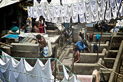 Dhobi Ghat (the city's unique open air laundry system) (Katya_N) Tags: street india laundry mumbai dhobighat