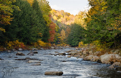 Fall on the Sacandaga River (UpstateNYPhototaker) Tags: blue autumn sunset red orange ny mountains tree green fall nature water leaves rural river landscape gold rocks seasons unitedstates sunny bluesky adirondacks upstateny foliage newyorkstate refreshing adirondack hamiltoncounty daks speculatorny sacandagariver nikkor18105vr nikond7000