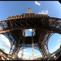 Eiffel Tower through a fish eye lens #olloclip #fisheye #eiffeltower #paris